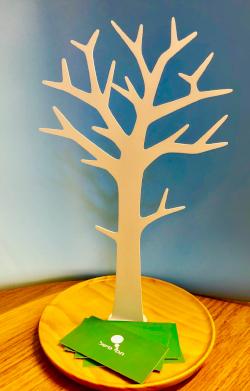עץ עם כרטיס ביקור של קופירייטר ומעצבת גרפית